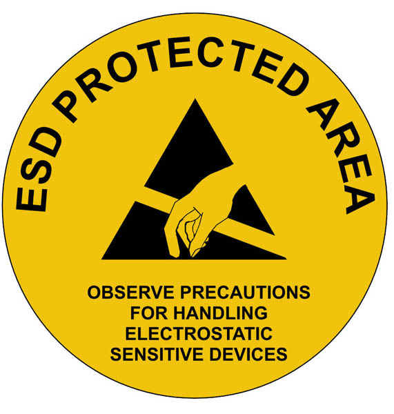 Esd Protected Area Floor Wall And Door Sign 300mm