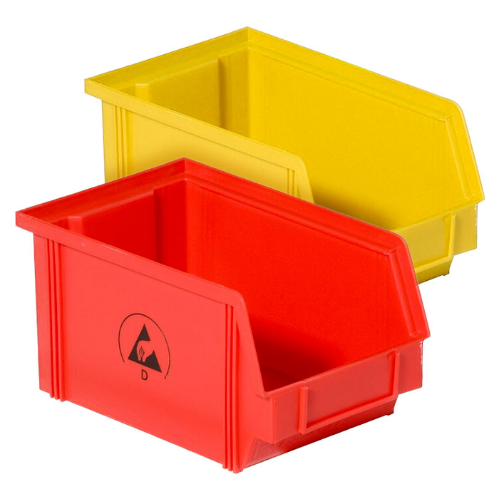 static dissipative coloured plastic container