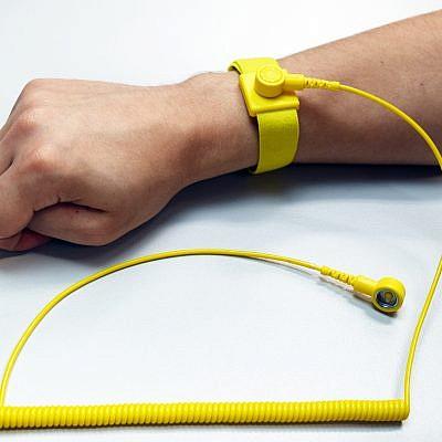 Anti Static Yellow Wrist Strap - 10mm press stud with 1800mm grounding lead