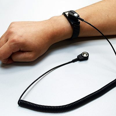 Anti Static Wrist Strap - Premium Black - ESD Grounding - 10mm press stud with 1800mm lead